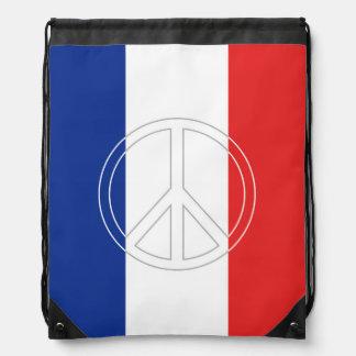 Peace Symbol on France Tricolor Drawstring Bag