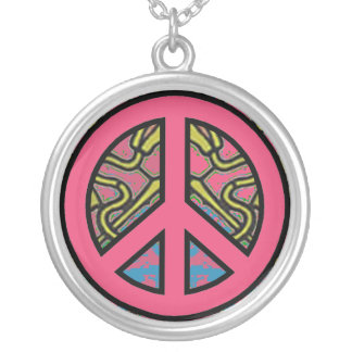 Peace Symbol on Psychedelic Background Necklaces