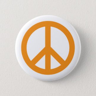 Peace Symbol - Orange Button