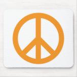 Peace Symbol - Orange Mouse Pad