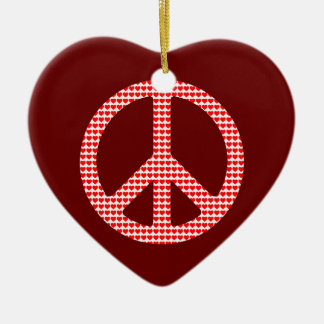 Peace Symbol Double-Sided Heart Ceramic Christmas Ornament