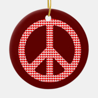 Peace Symbol Double-Sided Ceramic Round Christmas Ornament