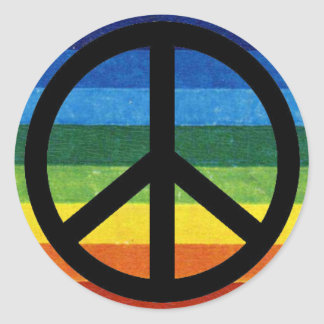 peace symbol rainbow classic round sticker