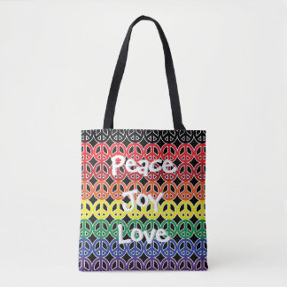 Peace Symbol Rainbow Peace Joy Love Tote Bag
