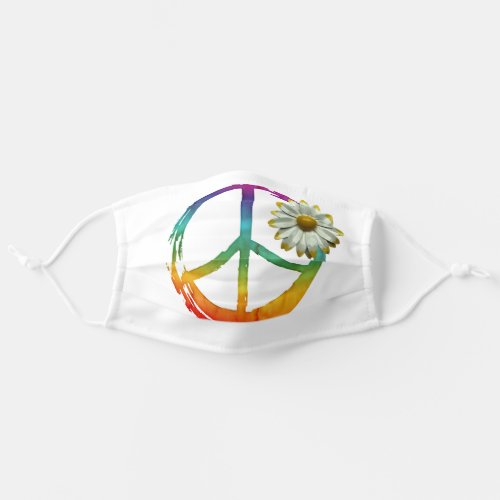 PEACE Symbol sign _ Hippie Watercolor Daisy Adult Cloth Face Mask