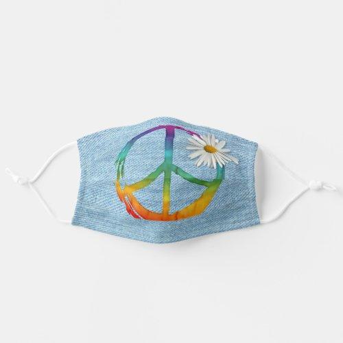 PEACE Symbol sign _ Hippie Watercolor Daisy Denim Adult Cloth Face Mask