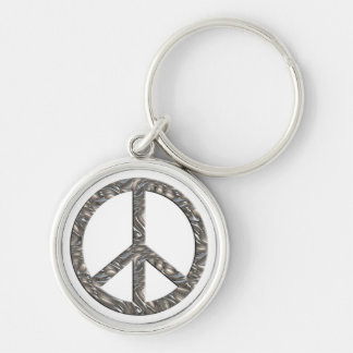 PEACE symbol  - SILVER Keychain