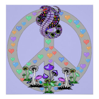 Peace Symbol Snake Print