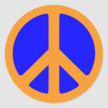 Peace Symbol sticker in blue and gold