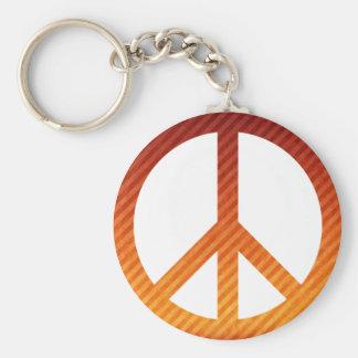 Peace Symbol Striped Orange Basic Round Button Keychain
