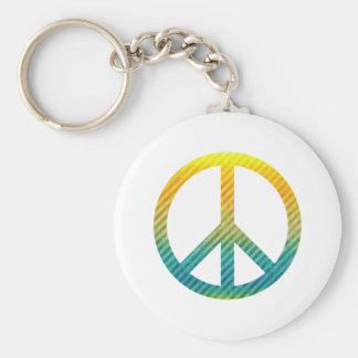 Peace Symbol Striped Yellow and Blue Keychain