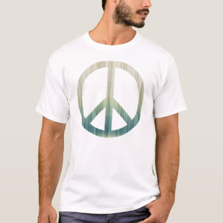 Peace Symbol Textured Pale Green and Blue T-Shirt