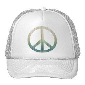 Peace Symbol Textured Pale Green and Blue Trucker Hat