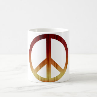 Peace Symbol Textured Red and Yellow Coffee Mug