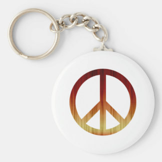 Peace Symbol Textured Red and Yellow Keychain