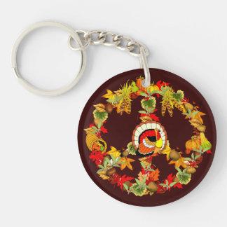 Peace Symbol Thanksgiving Turkey Acrylic Keychain