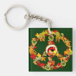 Peace Symbol Thanksgiving Turkey Square Acrylic Keychain