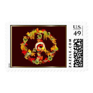 Peace Symbol Thanksgiving Turkey Postage