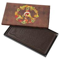 Peace Symbol Thanksgiving Turkey 2 Pound Dark Chocolate Bar Box