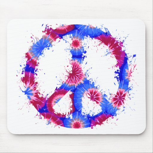 Peace Symbol Tie Dye Ink 9 Mouse Pad