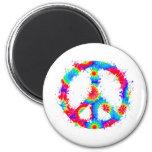 Peace Symbol Tie Dye Ink Magnets