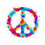 Peace Symbol Tie Dye Ink Postcard
