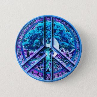 Peace Symbol Tree of Life Yin Yang Button