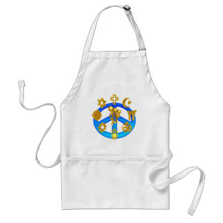 Peace Symbol Uniting All World Religions Adult Apron