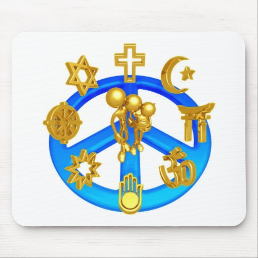 Peace Symbol Uniting All World Religions Mouse Pad