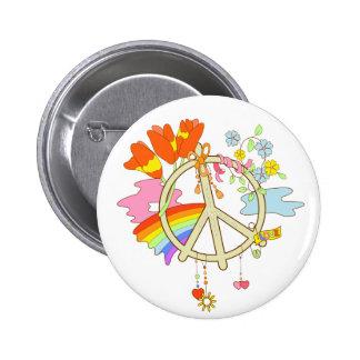 Peace Symbol white button