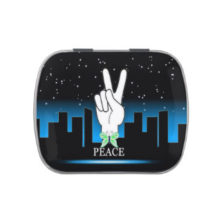 Peace Symbol with a City Background Candy Tin