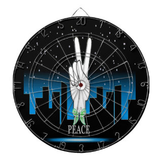 Peace Symbol with a City Background Dartboards