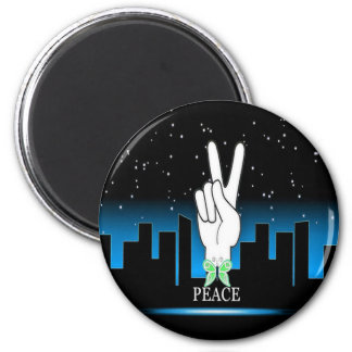 Peace Symbol with a City Background Magnet