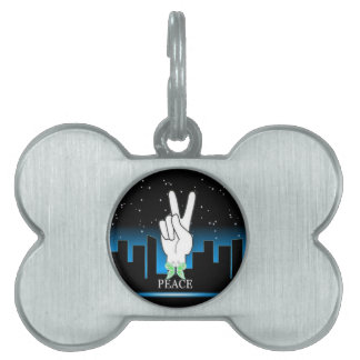 Peace Symbol with a City Background Pet Name Tag