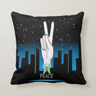 Peace Symbol with a City Background Throw Pillow