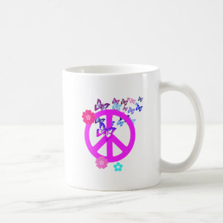 Peace Symbol with Butterflies and Flowers Classic White Coffee Mug