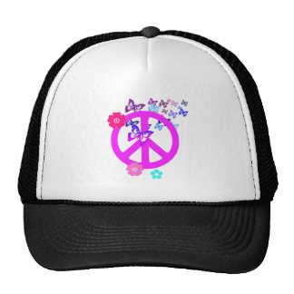 Peace Symbol with Butterflies and Flowers Trucker Hat