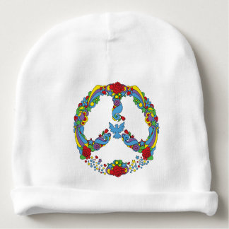 Peace symbol with flowers and stars pop-art style baby beanie
