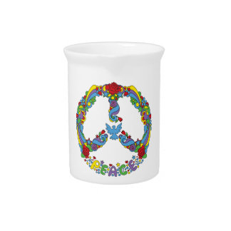 Peace symbol with flowers and stars pop-art style beverage pitcher