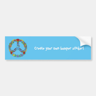 Peace symbol with flowers and stars pop-art style bumper sticker