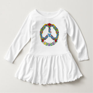 Peace symbol with flowers and stars pop-art style dress