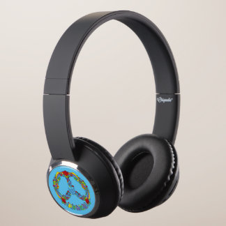Peace symbol with flowers and stars pop-art style headphones