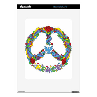 Peace symbol with flowers and stars pop-art style iPad skins