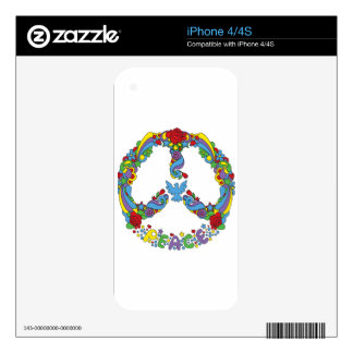 Peace symbol with flowers and stars pop-art style iPhone 4S skin