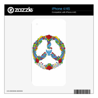 Peace symbol  with flowers and stars pop-art style iPhone 4S skins