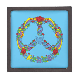 Peace symbol with flowers and stars pop-art style keepsake box
