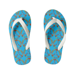 aafdb5a77d80a1 Peace symbol with flowers and stars pop-art style kid s flip flops