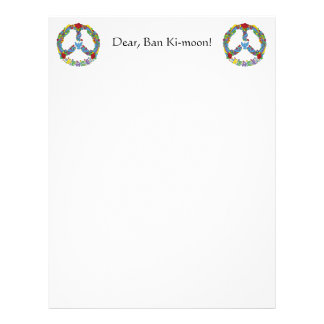 Peace symbol with flowers and stars pop-art style letterhead