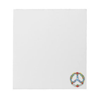 Peace symbol  with flowers and stars pop-art style notepad