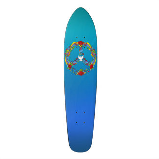 Peace symbol with flowers and stars pop-art style skateboard